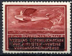 WIEN 1933 - Airplane Poster Stamp With Commem. Ovpt. MNG (no Gum) VF - Aerei