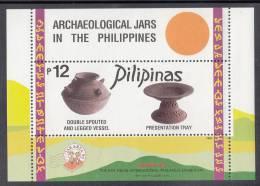 Philippines MNH Scott #2364a Souvenir Sheet 12p Double-spouted Legged Vessel, Presentation Tray - Jars - Jakarta 95 OP - Philippines