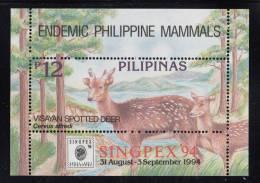 Philippines MNH Scott #2312a Souvenir Sheet 12p Visayan Spotted Deer - Endemic Mammals - Singapex 94 - Philippines