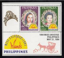 Philippines MNH Scott #2304 Souvenir Sheet Of 2 8p Gloria Diaz, Margie Moran - Miss Universe 1994 - Philippines