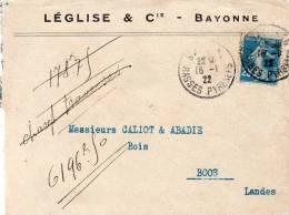 Bayonne L'Eglise Et Cie Lettre Pour Boos - Post