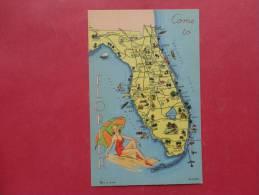 Map Of Florida L Linen Not Mailed Ref 903 - Vereinigte Staaten