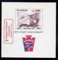 Philippines MNH Scott #2114 Souvenir Sheet 4p On 3.20p Cannon (1982 Bataan Day) O/p 1st Philippine Philatelic Convention - Philippines