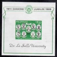 Philippines MNH Scott #1803 Imperf Souvenir Sheet 7.20p Founding Fathers - 75th Ann De La Salle University - Philippines