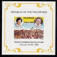 Philippines MNH Scott #1799 Imperf Souvenir Sheet 7.20p Aquino, Laurel - People Power Revolution - Philippines