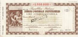 BUONO POSTALE FRUTTIFERO /  LIRE 500.000 -  Serie AA - Frazionario 43/48  _ Annullato - Azioni & Titoli