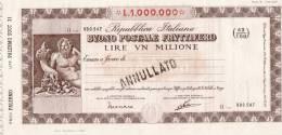 BUONO POSTALE FRUTTIFERO /  LIRE 1.000.000 -  Serie 0 - Frazionario 43/168  _ Annullato - Azioni & Titoli