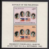 Philippines MNH Scott #1621a Souvenir Sheet Of 2 Visit Of President Marcos To USA - Philippines