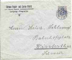 1907 Chromo Papier Und Carton Fabrik Leipzig Schöner Vollstempel - Deutschland