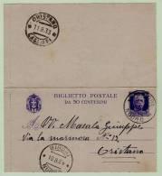 Biglietto Postale C.50 Viola Su Grigio Formato Piccolo - Vittorio Emanuele III Viaggiato Da Birori A Oristano - 1900-44 Vittorio Emanuele III