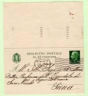 Biglietto Postale C.25 Verde Su Bianco Formato Piccolo - Vittorio Emanuele III Viaggiato Per Siena - 1900-44 Vittorio Emanuele III