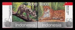 O) 2013 INDONESIA, DIPLOMATIC RELATIONS MEXICO-INDONESIA, CLOUDED LEOPARD, MEXICAN JAGUAR, SET MNH - Indonésie