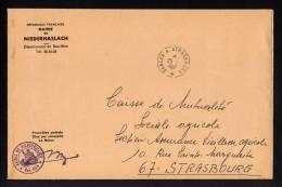 Lettre Franchise Postale MAIRIE DE NIEDERHASLACH Cachet Convoyeur SAALES A STRASBOURG 1967 Clos Par Nécessité - Réf A147 - Correo Ferroviario