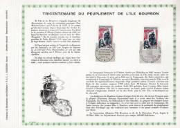 """Feuillet PAC De 1965 : """" 300 ANS DU PEUPLEMENT DE L´ILE BOURBON """". N° YT 1461 TB état ! - Bateaux"""