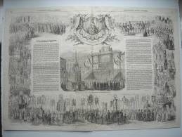 GRAVURE 1854. JUBILE SECULAIRE DE NOTRE-DAME DE LA TREILLE, A LILLE. AVEC EXPLICATIF. - Estampes & Gravures