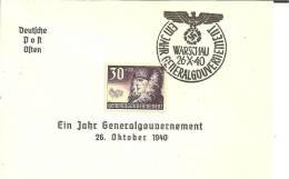 GG074 / 1 Jahr Besetztes Polen. Gedenkblatt  Warschau 1940. - Besetzungen 1938-45