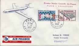 Premier Service Caravelle AIr France PARIS - FRANCFORT - Poste Aérienne
