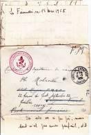 POSTES NAVALES EN EXTREME ORIENT (CACHET ROUGE RARE) - 1955 - LETTRE FM Pour SAÏGON NAVAL REEXPEDIEE à AURILLAC (CANTAL) - Marcophilie (Lettres)