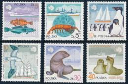 POLAND/Polen/Polska 1987, Polar Ships And Antarctic Fauna, Set Of 5v** - Antarctic Wildlife