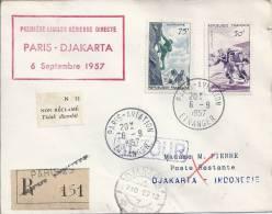 Premiére Liaison Aérienne Direct Paris - Djakarta, 6 Setp 57 - Poste Aérienne