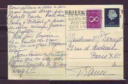 TIMBRE. LETTRE. PAYS BAS. FRANCE. PARIS. NEDERLAND. ENTIER. CARTE. BRIEFKAART - Postal Stationery