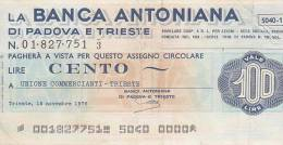 LA BANCA ANTONIANA  -  100 LIRE  --  PADOVA E TRIESTE - Zonder Classificatie