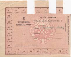 CROATIA  --   COUPON  --   R  --   REPUBLIKANSKA POTROSACKA KARTA -- POST WAR YEARS 1948 -- BANK OF CROATIA    --  RRR - Kroatien