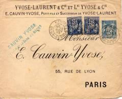 FRANCE ENTIER POSTAL TSC 15c TYPE SAGE CAUVIN YVOSE 1893 - Entiers Postaux