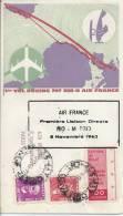Air France Premiere Liaison Direct RIO Madrid, 6 Novembre 63 - Poste Aérienne