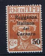 Italy: Carnaro / Fiume, 1920, Nr 11, Mh/* - 8. Occupazione 1a Guerra