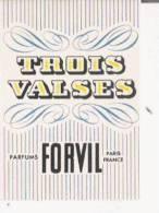 CARTE PARFUMEE ANCIENNE TROIS VALSES  FORVIL - Perfume Cards