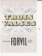 CARTE PARFUMEE ANCIENNE TROIS VALSES  FORVIL - Vintage (until 1960)