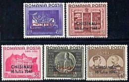 ROMANIA 1941 CAROL I FOUNDATION OVERPRINT CHISINAU SC # B159-B163 MLH - Nuovi
