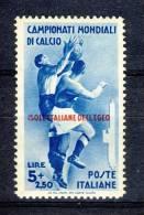 Egeo 1934 SS 13 Mondiali Di Calcio N. 79 Lire 5+2,50 Azzurro MLH Centrato Cat. € 110 - Egeo