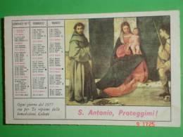 Calendarietto Anno 1977 - PANE Di S.ANTONIO Da Padova - Opera Francescana Della Carità - Convento S.CROCE - BOLOGNA - Calendari
