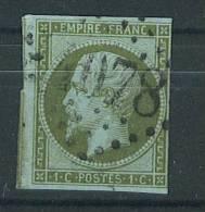 VEND TIMBRE DE FRANCE N° 11d , VERT OLIVE PALE SUR BLEUTE + GC 1078 : VALENCIENNES !!!! - 1853-1860 Napoléon III.