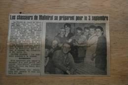 COUPURE DE PRESSE 1961 Chasseurs De MALINTRAT Puy De Dôme (63) - Documenti Storici