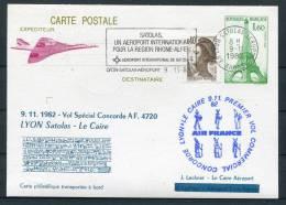 1982 Air France  Lyon - Cairo Egypt Concorde Flight Postcard - Concorde