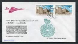 1982 Air France Cairo Egypt - Lyon Concorde Flight Cover - Concorde