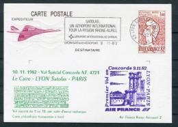 1982 Air France (Cairo Egypt) Lyon - Paris Concorde Flight Postcard - Concorde