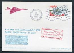 1982 Air France Paris - Lyon (Cairo Egypt) Concorde Flight Postcard - Concorde