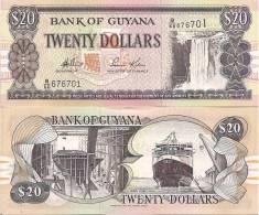Guyana P30d, 20 Dollars Kaieteur Falls / Shipbuilding, Ferry MV Malali - Guyana