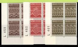 DEN SC #675-7 MNH PB4  1980 Tonder Lace Patterns  P# L 459, L 460, L 461, CV $7.40 - Denmark