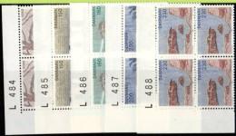 DEN SC #682-6 MNH PB4 UL CNR 1981 Views Of Zealand  P# L 484, L 485, L 486, L 487, L 488, CV $14.80+ - Denmark
