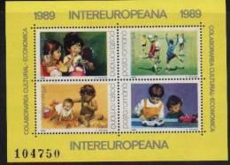 JEUX D´ ENFANTS  Fillettes, Poupees,Automobiles-jouets,Jeux De Ballon( Handball) Et De Plage   BF 203  Roumanie1989 - Zonder Classificatie