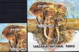 WWF Naturschutz Elefant Afrika 1993 Tansania 1614 Plus Block 228 O 6€ Nationalpark Fauna Bloc Elephant Sheet Bf Tanzania - Protection De L'environnement & Climat