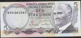 TURKEY   P185   5   LIRA    1970     UNC. - Turquie