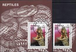 WWF Naturschutz Schlangen 1993 Tansania 1510 Plus Block 220 O 9€ Reptilie Kreuzotter Fauna Bloc Vipera Sheet Bf Tanzanie - Protection De L'environnement & Climat