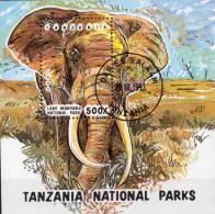 Naturschutz Elefanten Afrika 1993 Tanzania Block 228 O 4€ WWF Nationalpark Manyara Fauna Bloc Elephant Sheet Bf Tanzanie - Tanzania (1964-...)
