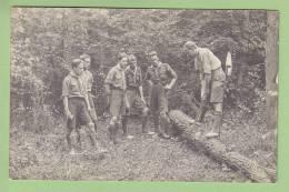 CHAMARANDE, Carte Photo : Patrouille En Plein Travail. Maniement De La Hache. Scouts De France. 2 Scans - Scoutisme